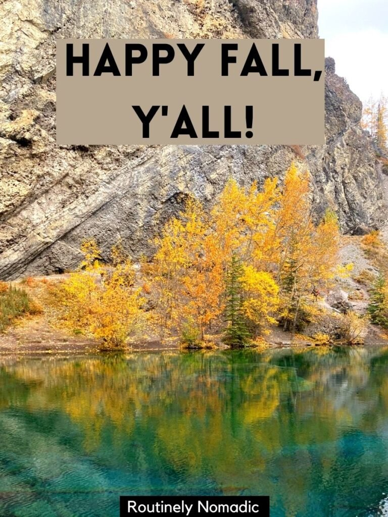 Yellow fall trees reflected in green water and a short cute fall captions that reads happy fall, y'all
