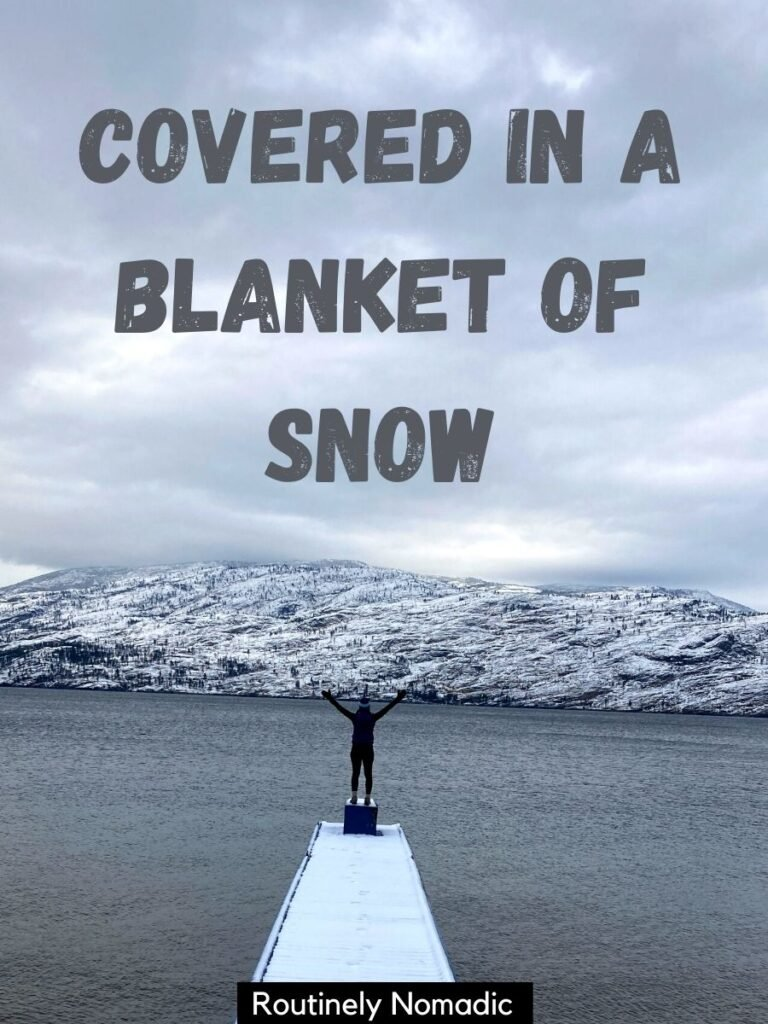 Person standing on snowy dock with cute snow captions that reads covered in a blanket of snow