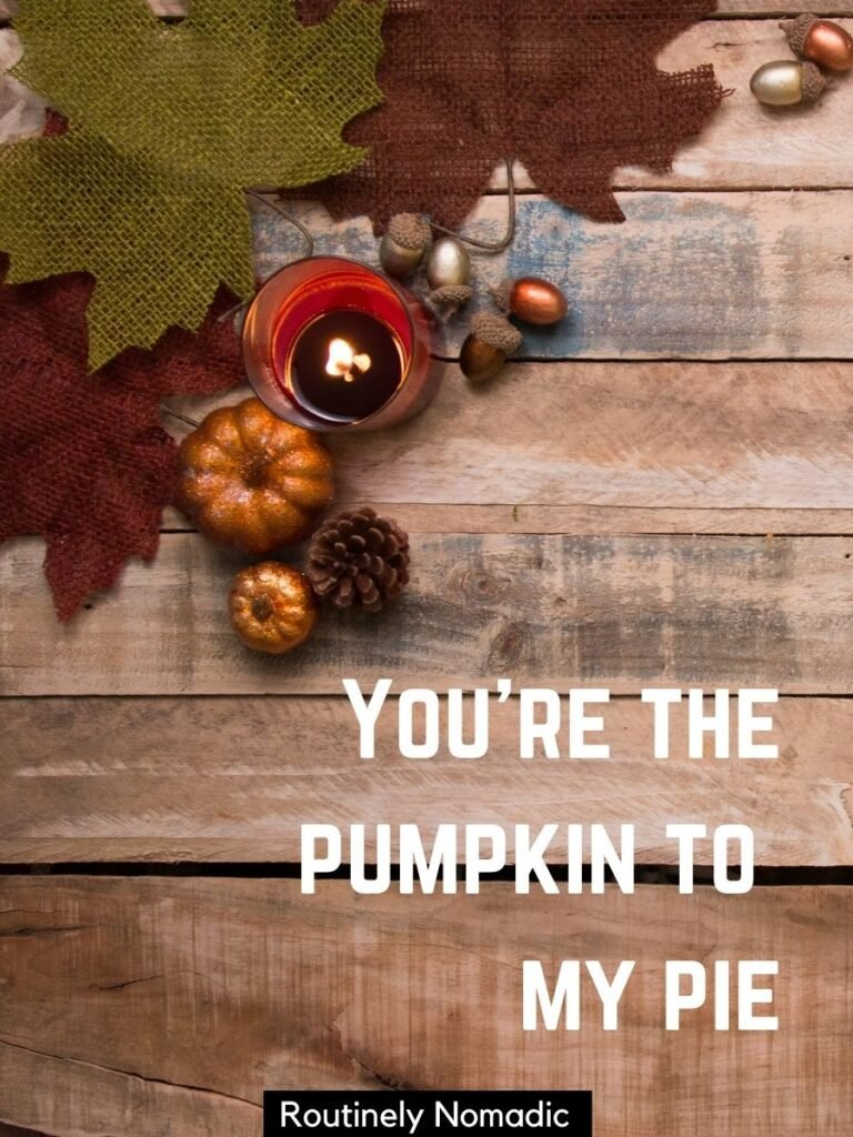 Small pumpkins and a candle decorations on a table and a cute Thanksgiving captions for couples that says you're the pumpkin to my pie