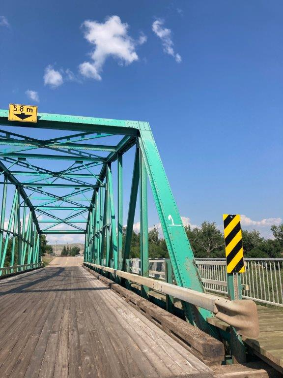 A old green bridge on the 11 bridges road one of the things to do in Drumheller Alberta