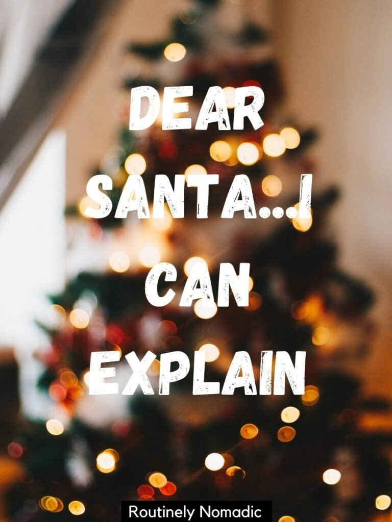 Blurred Christmas tree with funny Christmas captions