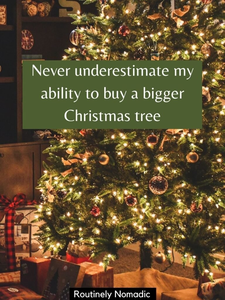 Tree with presents under and a funny Christmas tree captions