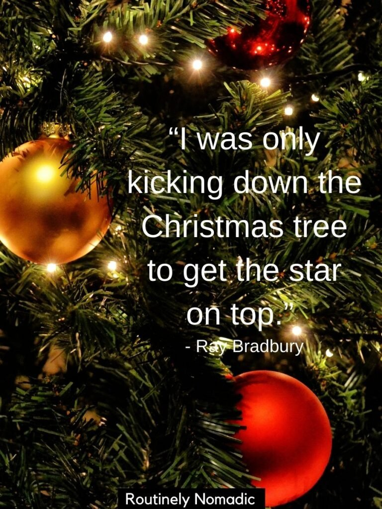 Close up of tree and decorations with funny Christmas tree quotes for Instagram by Ray Bradbury