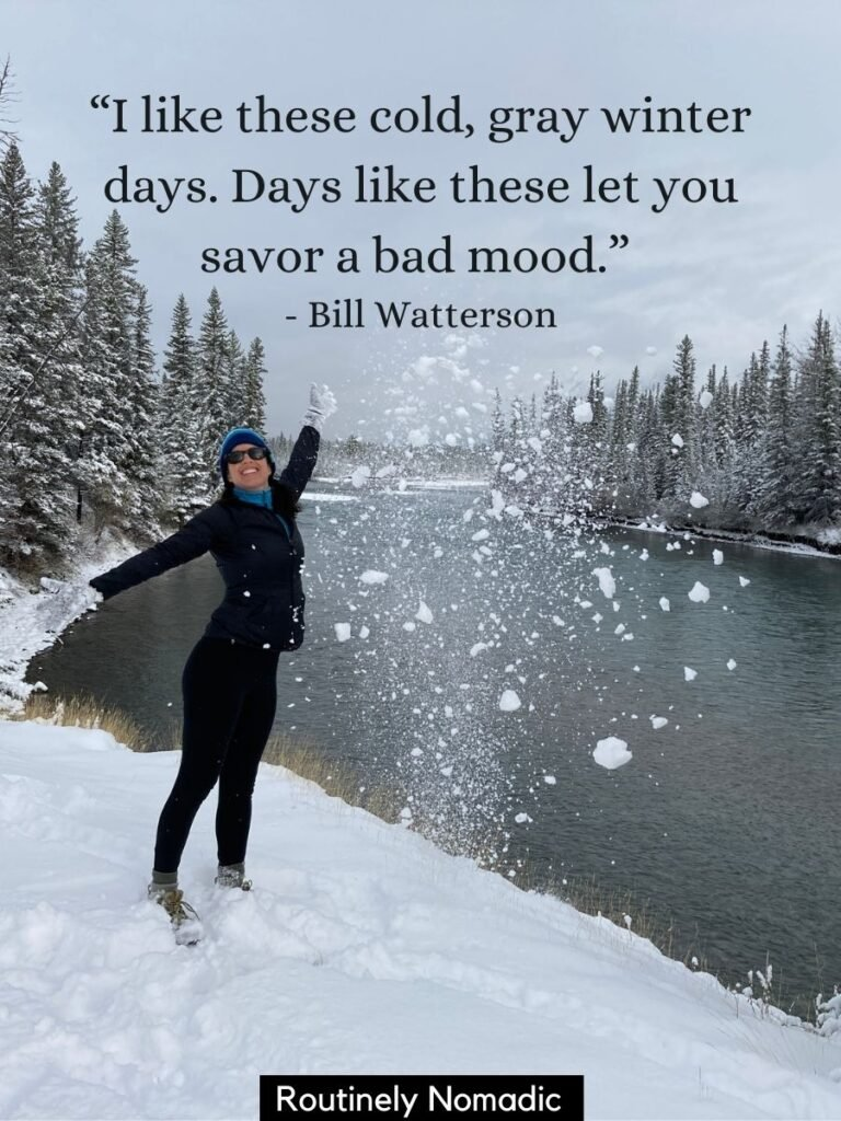 Woman throwing snow in air with funny cold weather quotes by Bill Watterson