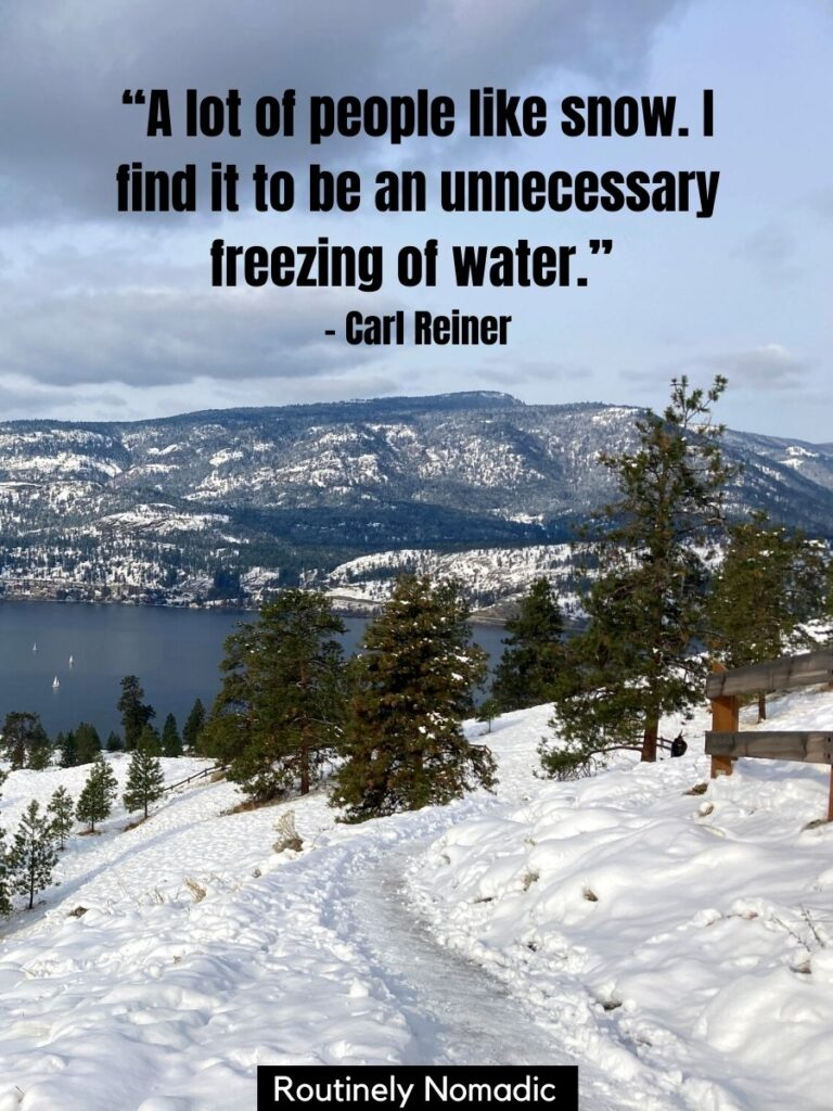 Path on snowy hillside with funny snow day quotes by Carl Reiner