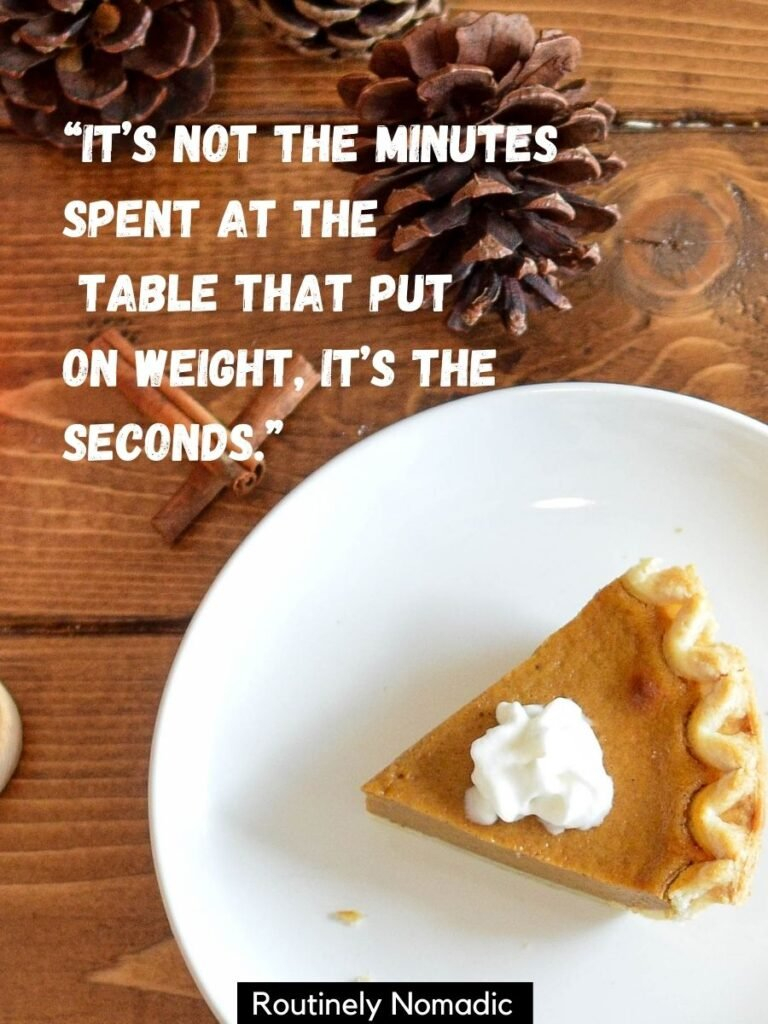 A piece of pumpkin pie and funny Thanksgiving sayings