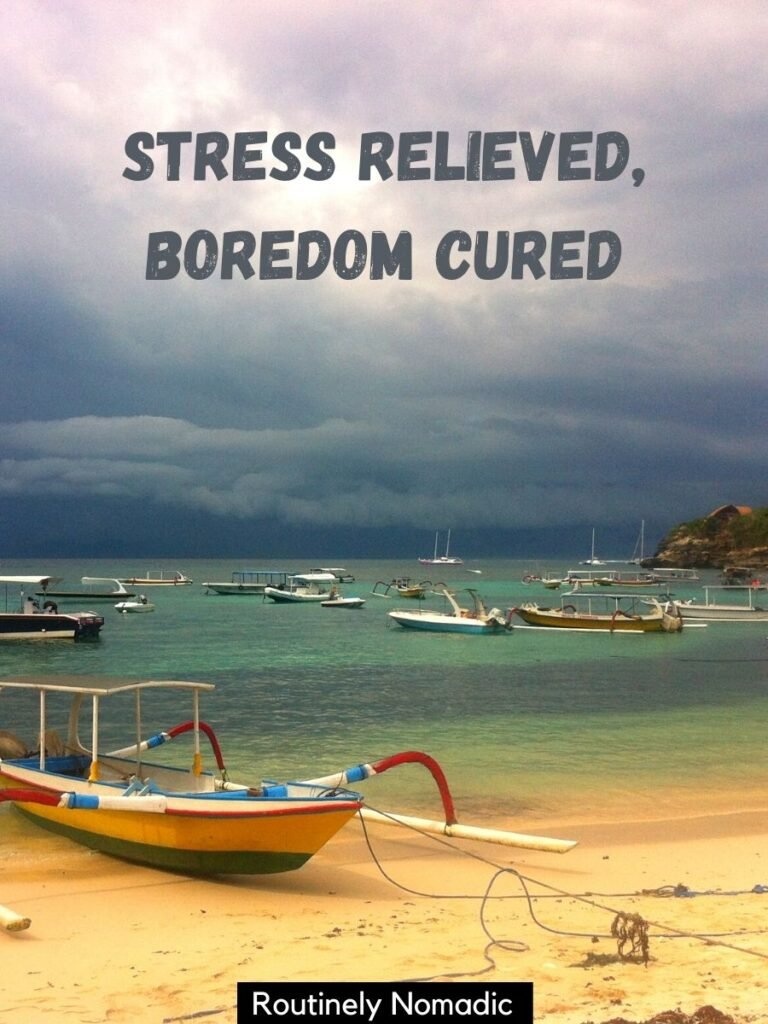 boat pulled up on the beach and dark clouds behind and a funny vacation captions that reads stress relieved, boredom cured