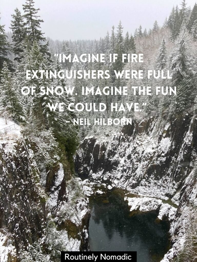 Snowy cliffs and trees lining river with funny winter quotes by Neil Hilborn