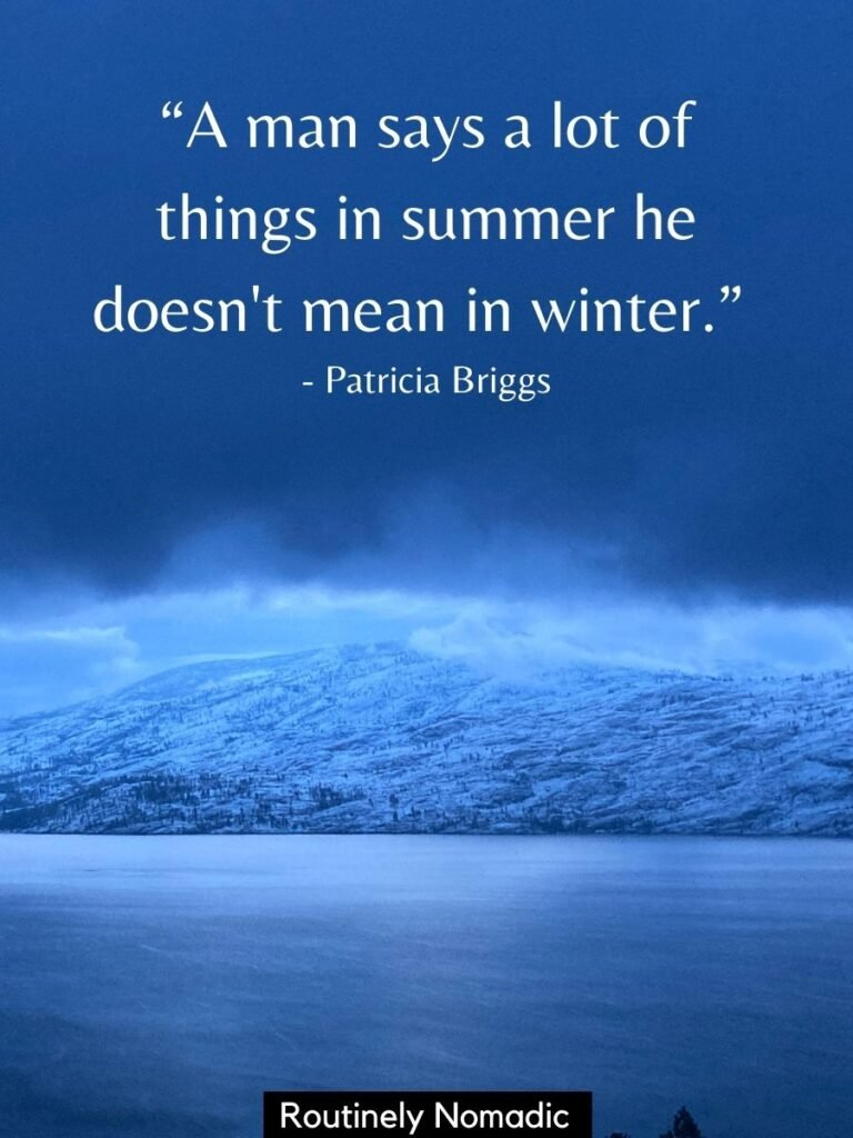 Snowy hills and dark sky with funny winter quotes for Instagram by Patricia Briggs