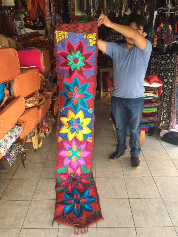 Embroidered table runner for sale at Panajachel Guatemala