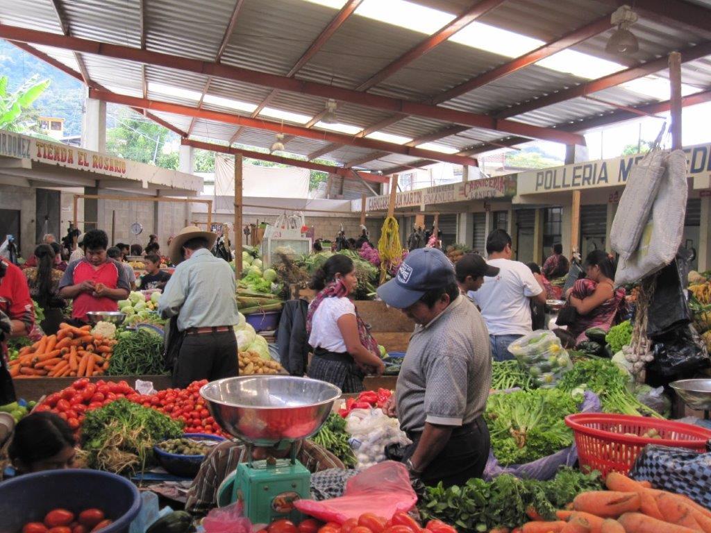 piles of veggies at the market at Panajachel Guatemala