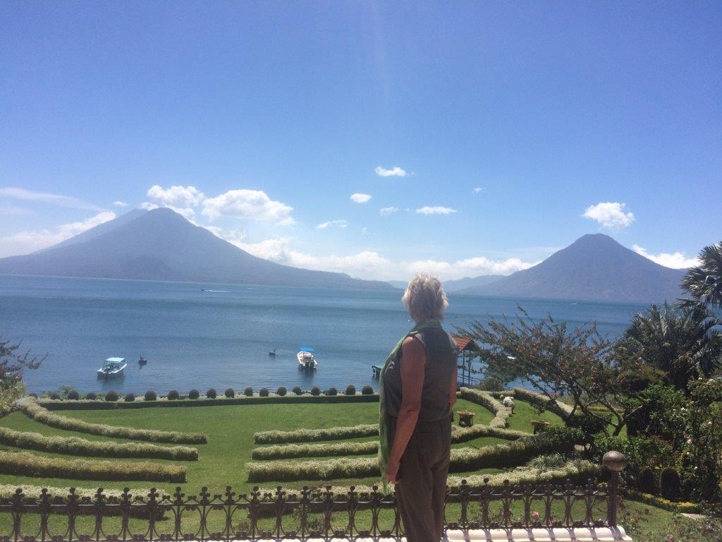 View of lake and volcanoes from Hotel Atitlan in Panajachel Guatemala