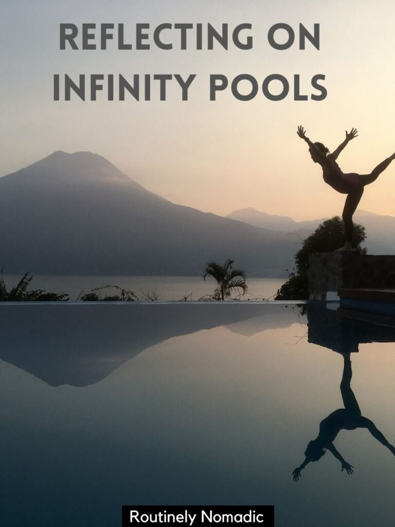 Person reflected in a pool at sunset with a infinity pool captions that reads reflecting on infinity pools