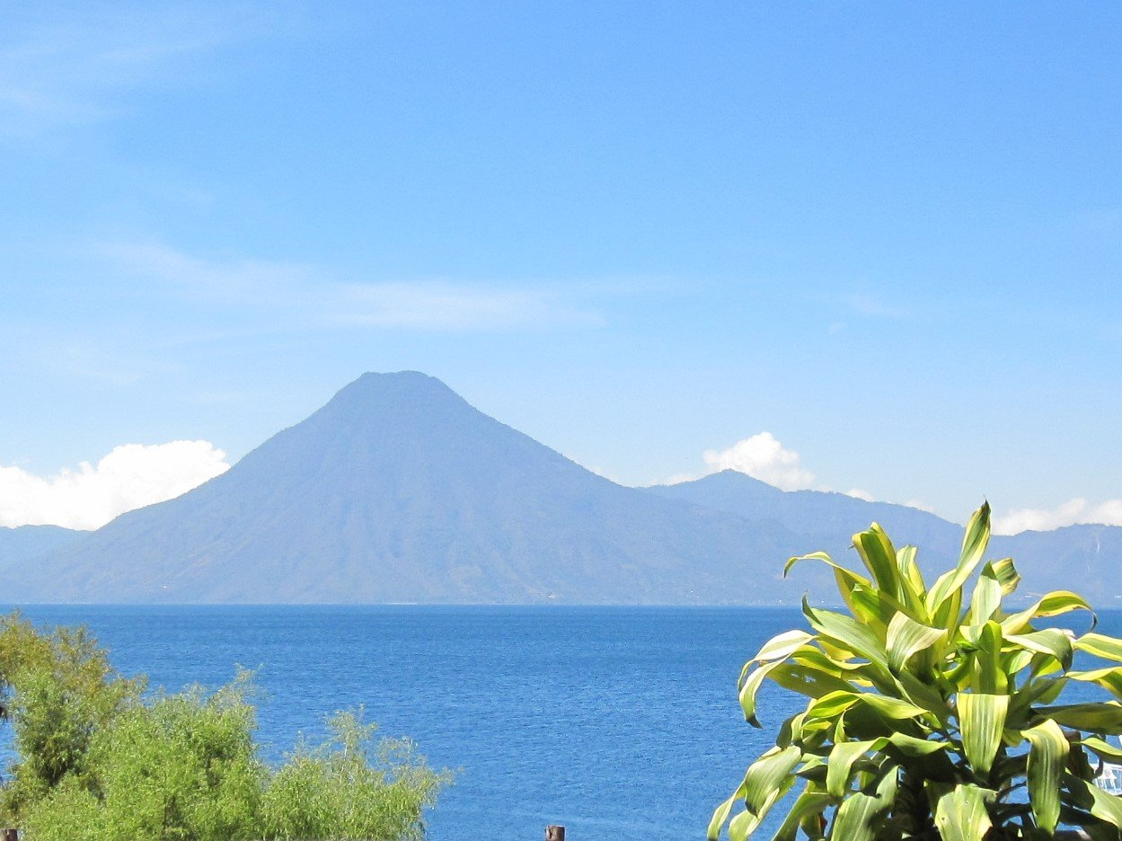 View of volcanoes from Panajachel Guatemala Lake Atitlan