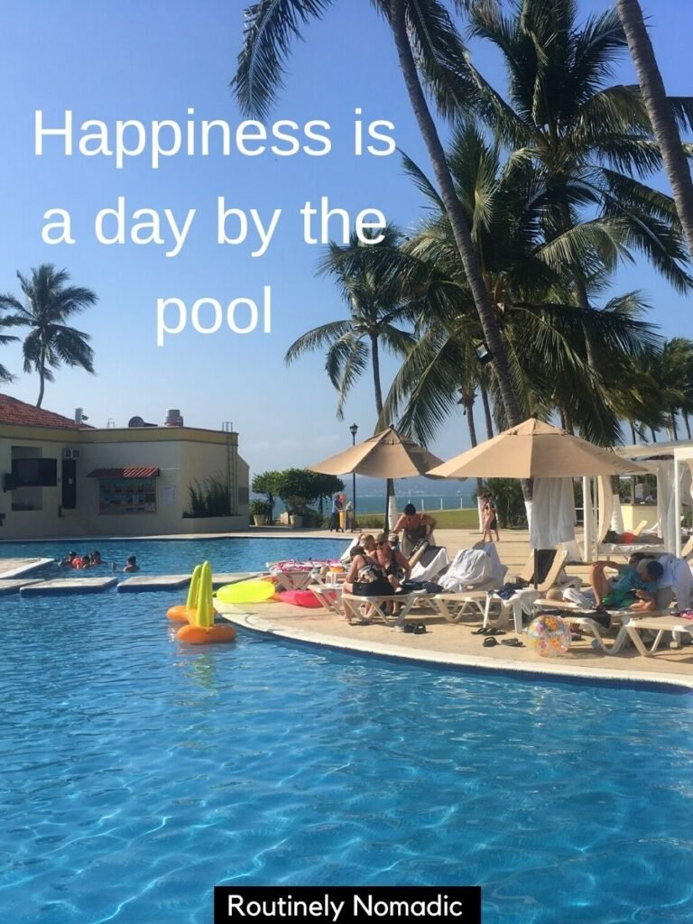 People by pool with a pool captions for Instagram that reads happiness is a day by the pool