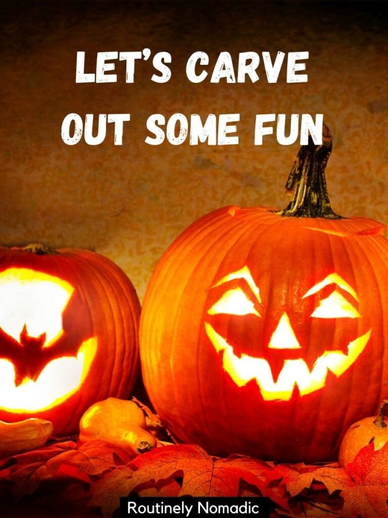 two jack 0'lanterns with a pumpkin carving captions that reads let's carve out some fun