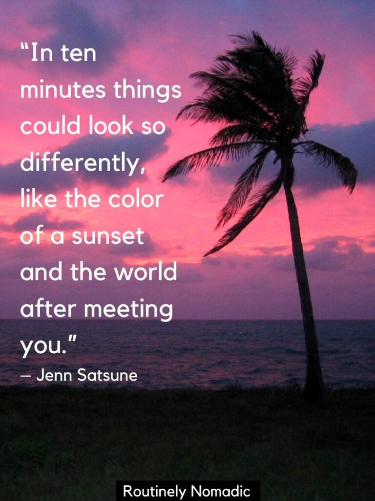 Pink sunset and silhouetted palm tree with a quotes about sunset and love by Jenn Satsune