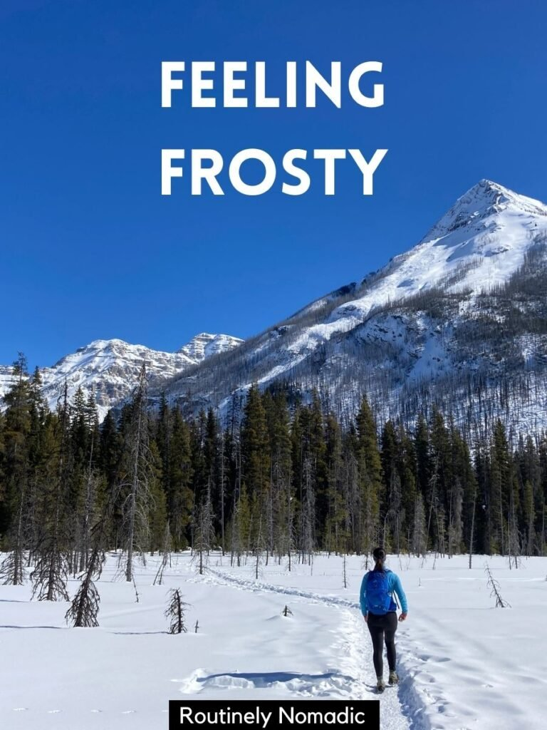 Person walking on snow trail in front on mountain with a short captions for snow that reads feeling frosty