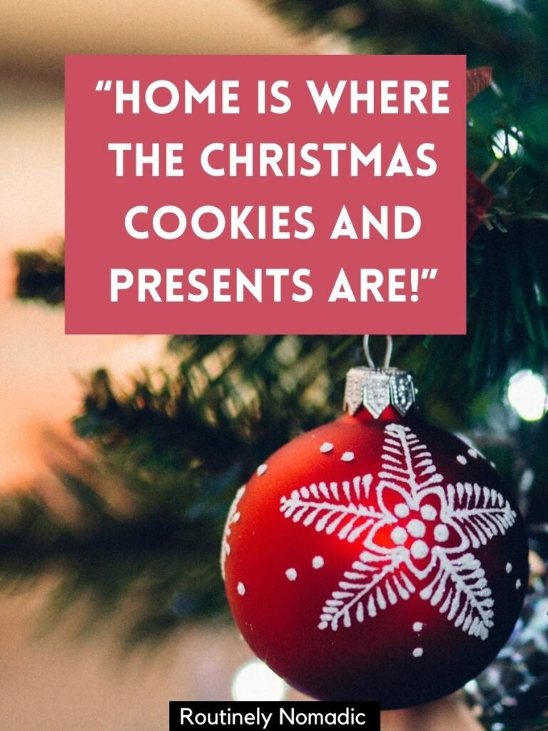Red Christmas tree decoration with a short Christmas sayings