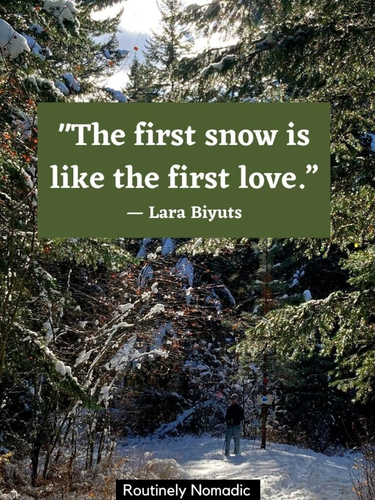 Person walking on snowy path with a short snow quotes for Instagram that says the first snow is like the first love