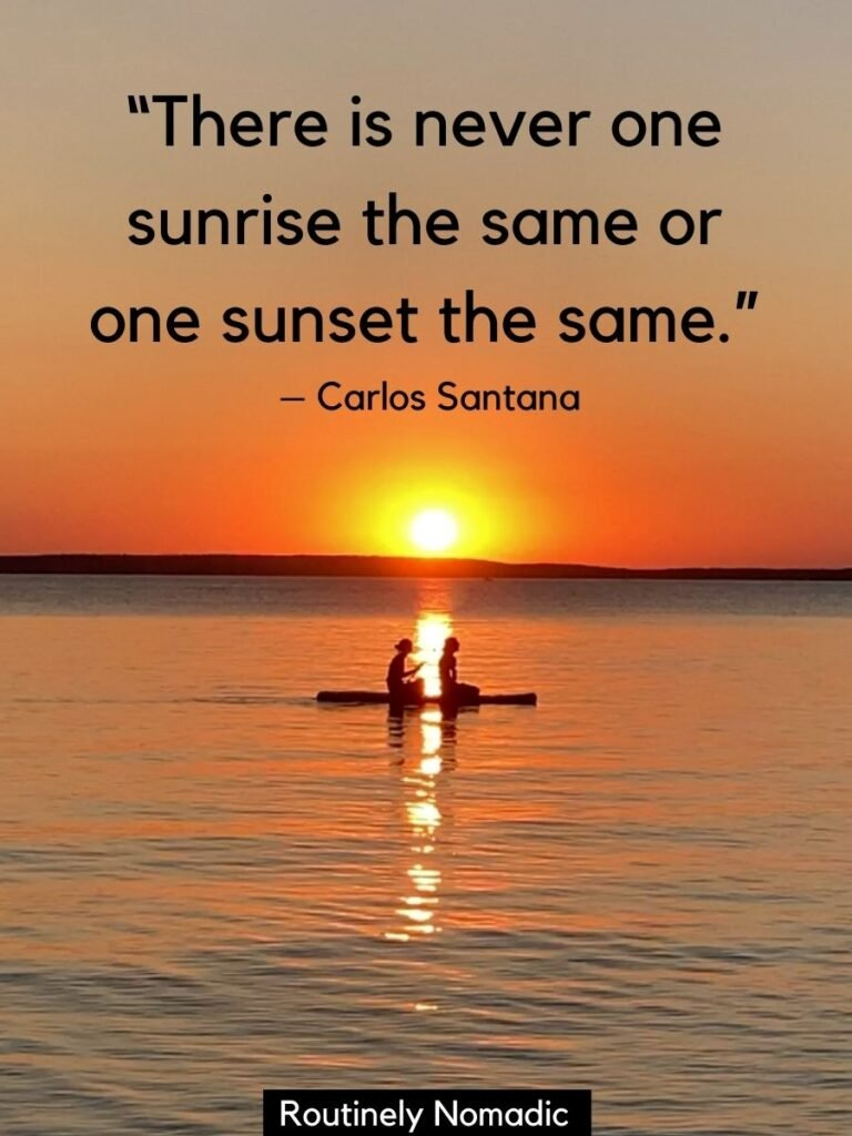 Two people on paddleboard at sunset with a simple sunset quotes for Instagram that reads there is never one sunrise the same or one sunset the same
