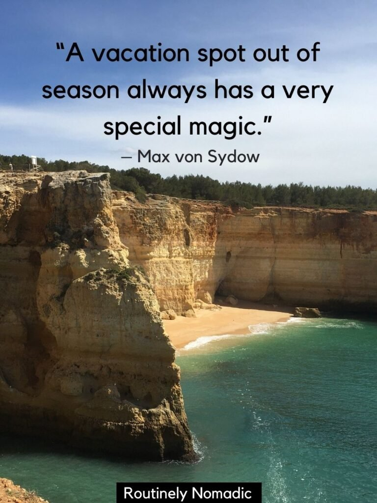 Empty beach and cliffs with vacation quotes by Max von Sydow