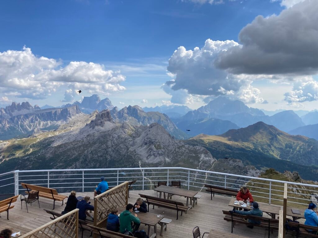 Deck at Alta Via 1 Rifugios Lagazuoi with mountains in distance
