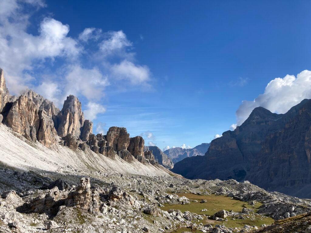 Rock mountains on alta via 1 dolomites
