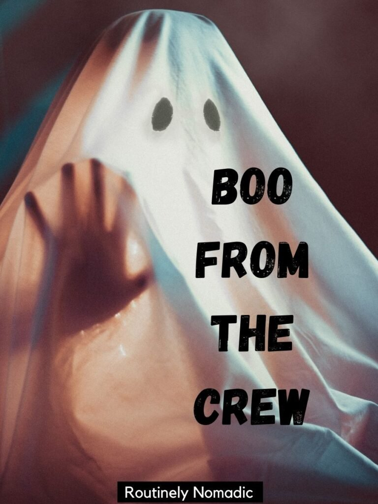 Person in ghost costume and funny Halloween captions that reads boo from the crew