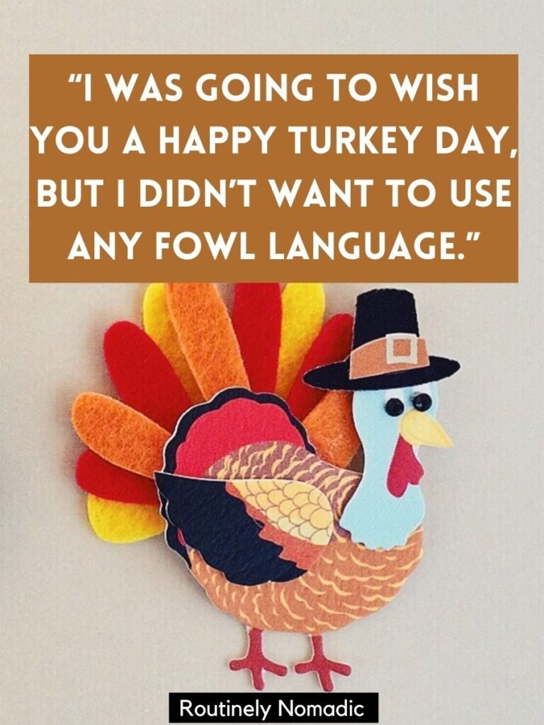Turkey decoration with a funny happy Turkey Day Sayings