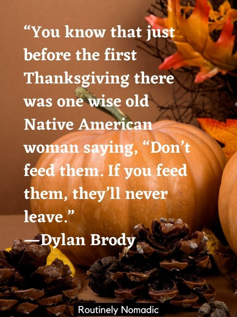 Pumpkin on a table and a funny thanksgiving quotes for a smile by Dylan Brody