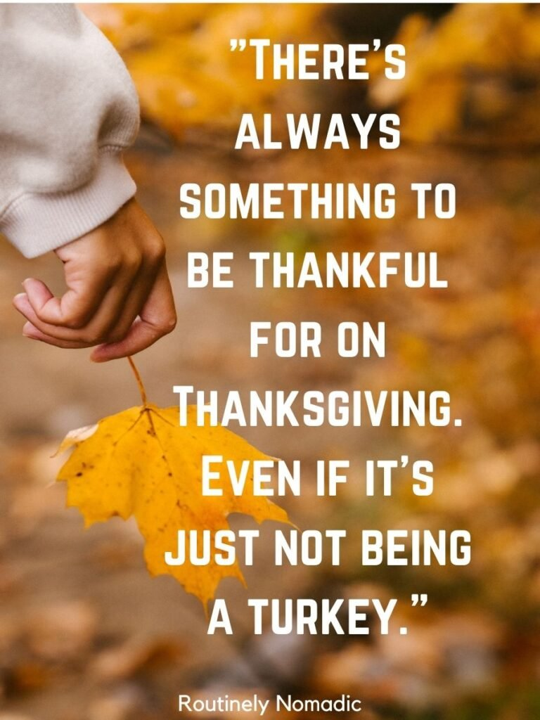 Someone holding a yellow leaf and funny Thanksgiving sayings
