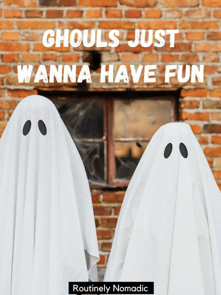 Two people dressed as ghosts with funny halloween puns that says ghould just wanna have fun