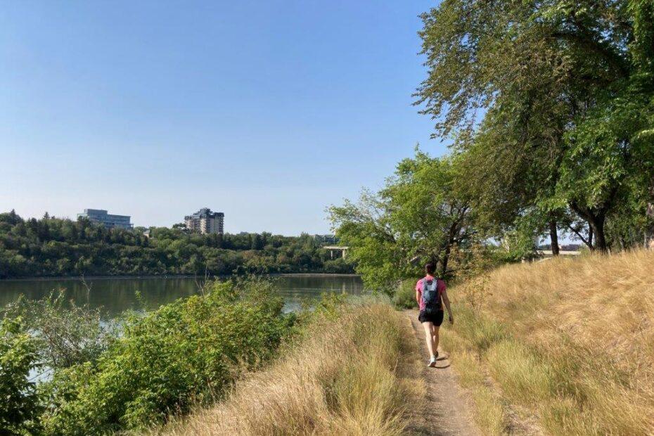 Woman walking on the Meewasin Trail in Saskatoon