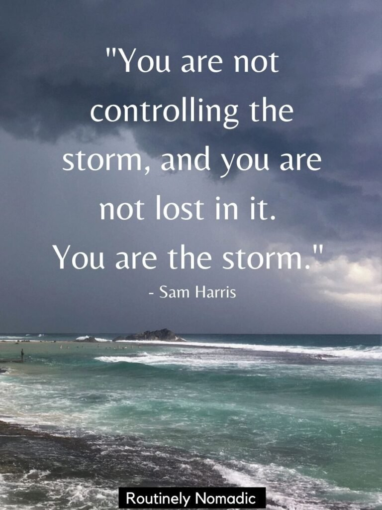 Stormy clouds and water with quotes about a storm by Sam Harris