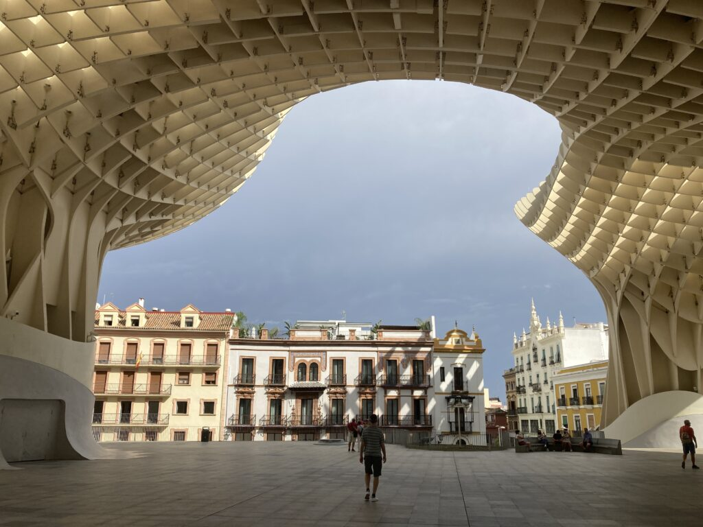 The Metropol Parasol (Las Setas) from below one of the Things to do in Seville Spain
