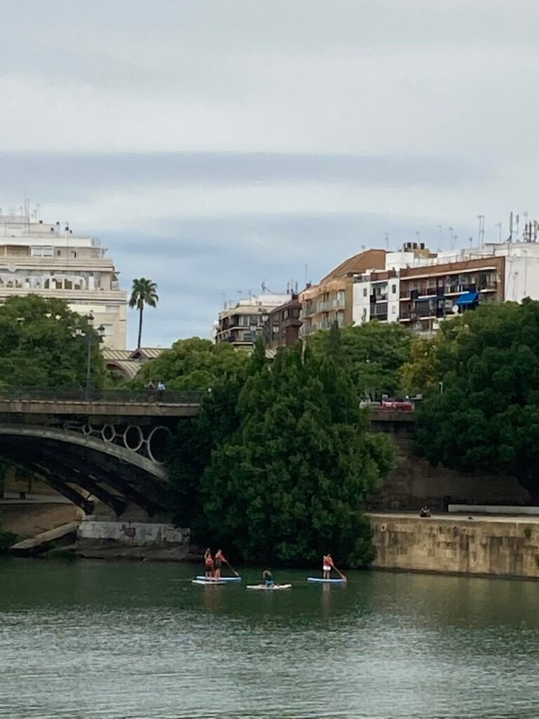 Paddleboarders on the river one of the unique things to do in Seville Spain