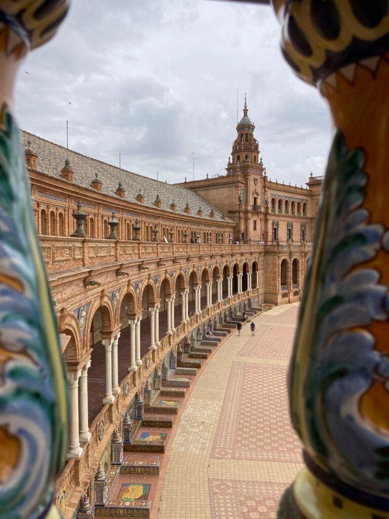 Plaza de Espana through the banister one of the best things to do in Seville Spain