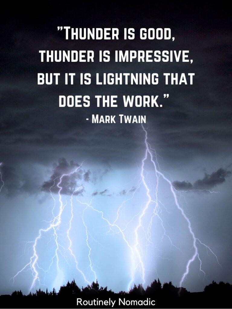 Dark clouds and lightning and thunderstorm quotes by Marl Twain
