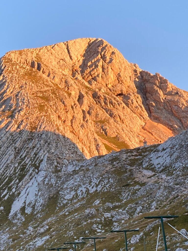 Sunrise on dolomites on Alta Via 1 above Rifugio Biella