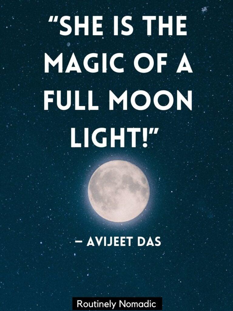 Full moon on dark sky with beautiful moon quotes by Avijeet Das