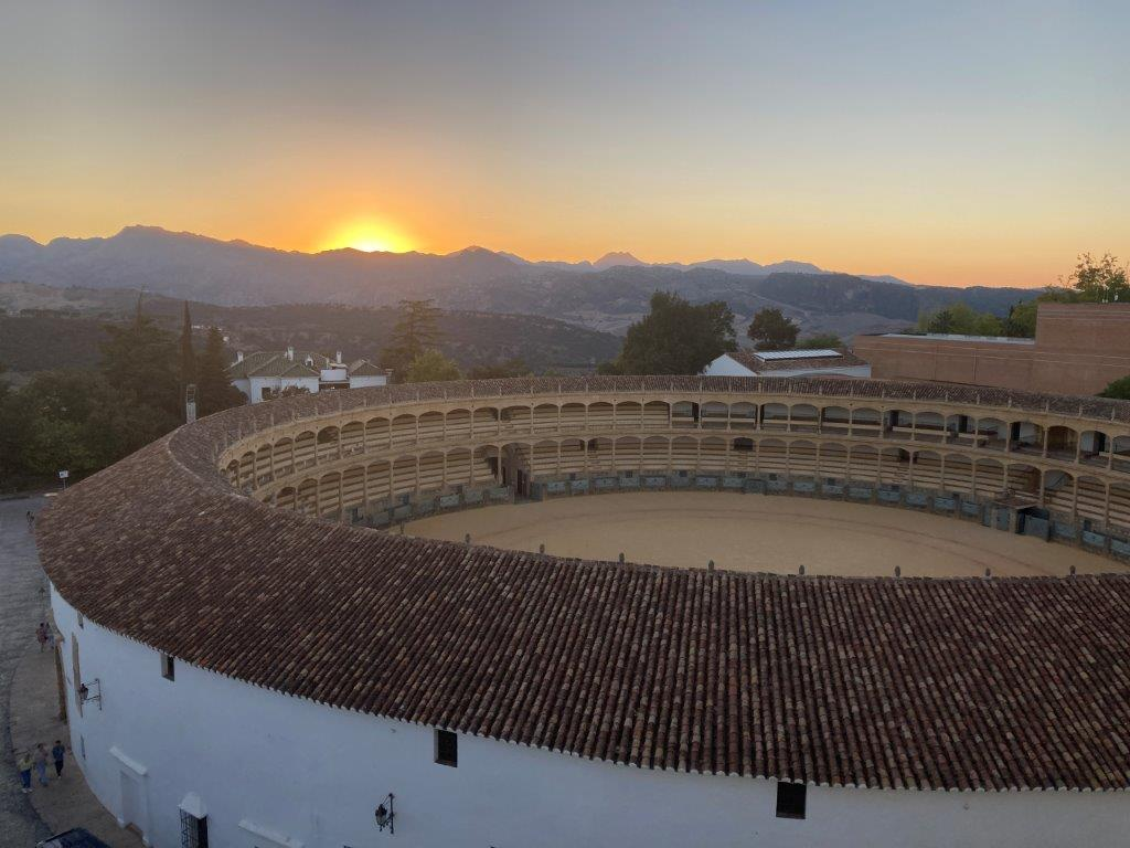 View of the bullring at sunset from the Catalonia Ronda Hotel