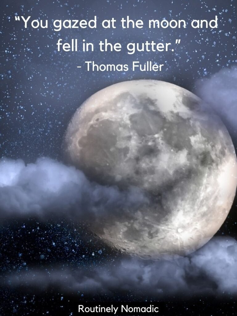 Full moon and clouds and stars with funny moon quotes by Thomas Fuller