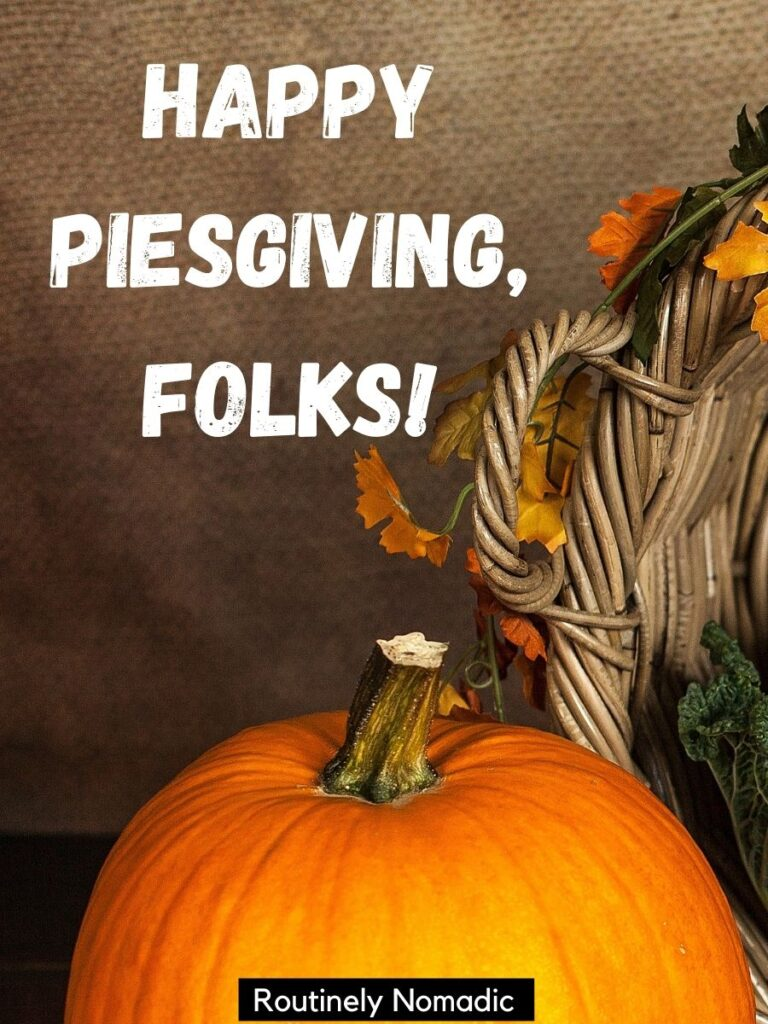 Top of a pumpkin and funny Thanksgiving captions that says happy piesgiving folks!