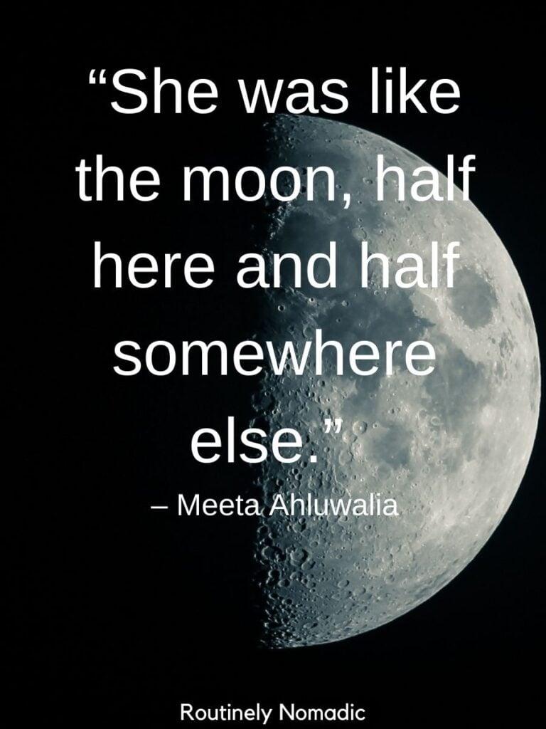 Half moon on a dark sky and half moon quotes by Meeta