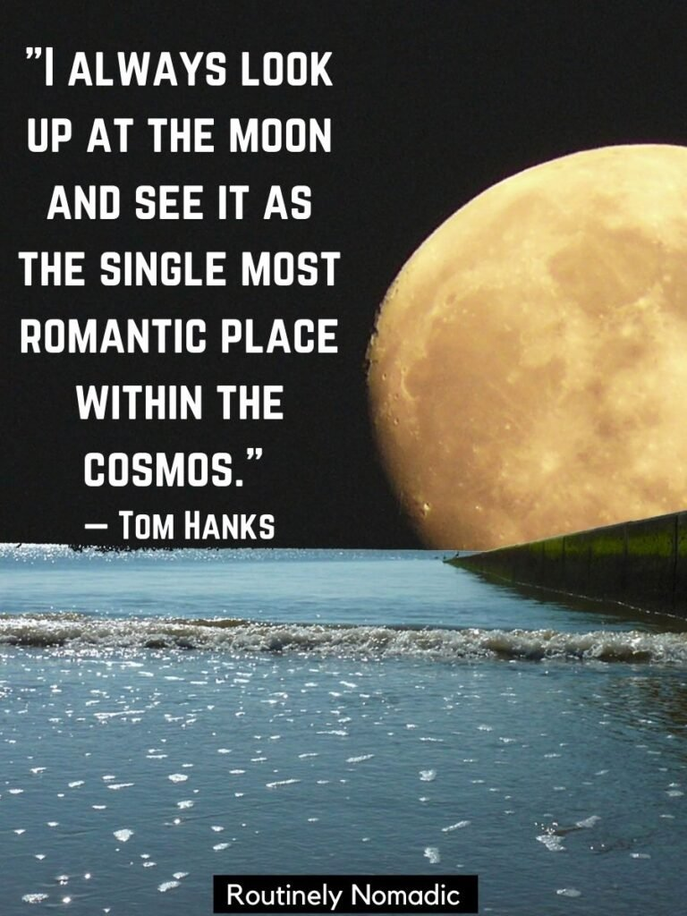 Yellow moon and water with a moon love quotes and romantic moon quotes by Tom Hanks