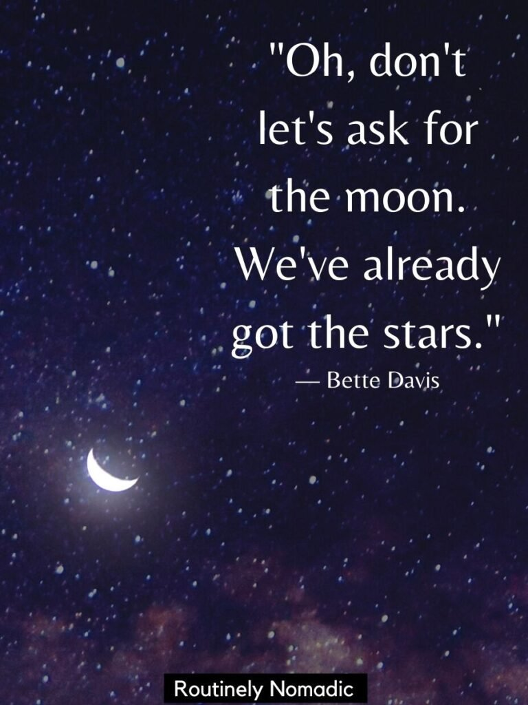 Crescent moon and stars on a dark sky and moon and stars quotes by Bette Davis