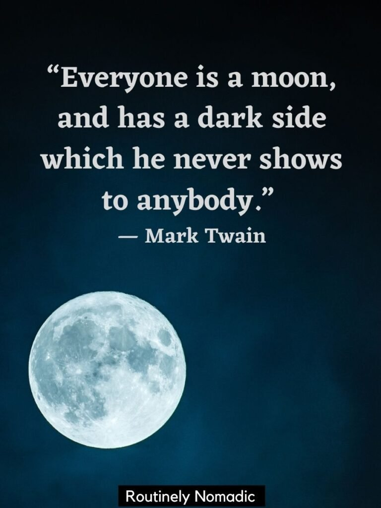Moon in a dark sky with a moon quotes by Mark Twain