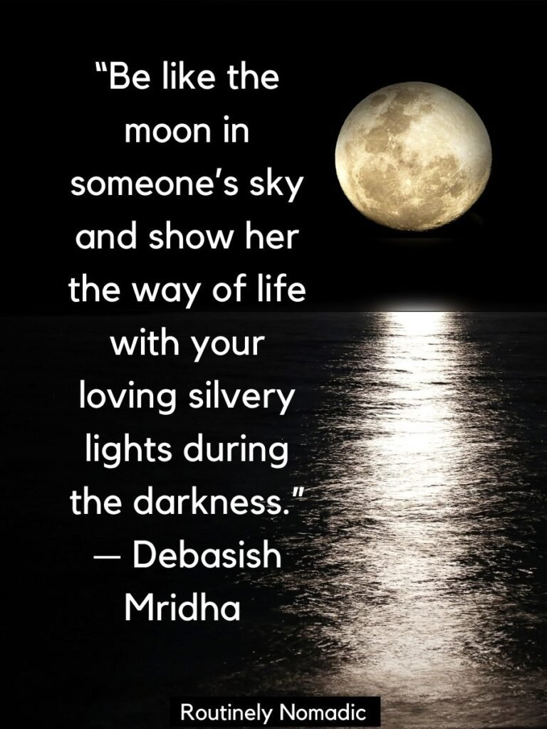 Moon shining on water with a moonlight quotes by Mridha