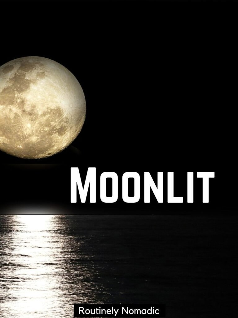 Moon shining on water with a short moon captions that says moonlit